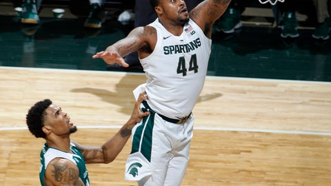 <p>               Michigan State's Nick Ward, right, gets a layup against Green Bay's Manny Patterson during the first half of an NCAA college basketball game, Sunday, Dec. 16, 2018, in East Lansing, Mich. (AP Photo/Al Goldis)             </p>