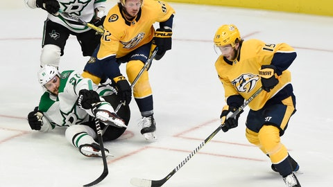 <p>               Nashville Predators center Calle Jarnkrok (19), of Sweden, gets control of the puck after stealing it away from Dallas Stars center Tyler Seguin (91) during the first period of an NHL hockey game Thursday, Dec. 27, 2018, in Nashville, Tenn. (AP Photo/Mark Zaleski)             </p>