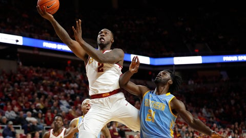 <p>               Iowa State forward Cameron Lard (2) drives to the basket over Southern University forward Bryan Assie (21) during the second half of an NCAA college basketball game, Sunday, Dec. 9, 2018, in Ames, Iowa. Iowa State won 101-65. (AP Photo/Charlie Neibergall)             </p>