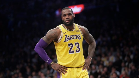 <p>               Los Angeles Lakers' LeBron James (23) reacts during the second half of an NBA basketball game against the Brooklyn Nets Tuesday, Dec. 18, 2018, in New York. The Nets won 115-110. (AP Photo/Frank Franklin II)             </p>