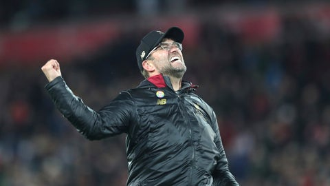 <p>               Liverpool coach Juergen Klopp celebrates after Liverpool forward Divock Origi scored his side's first goal during the English Premier League soccer match between Liverpool and Everton at Anfield Stadium in Liverpool, England, Sunday, Dec. 2, 2018. (AP Photo/Jon Super)             </p>