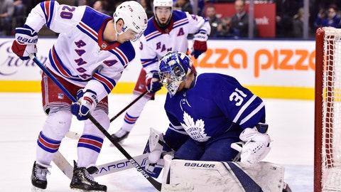 <p>               Toronto Maple Leafs goaltender Frederik Andersen (31) stops New York Rangers left wing Chris Kreider (20) during the third period of an NHL hockey game Saturday, Dec. 22, 2018, in Toronto. (Frank Gunn/The Canadian Press via AP)             </p>