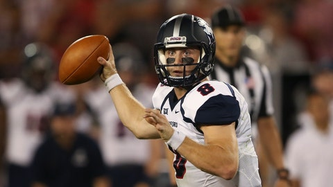 <p>               FILE - In this Sept. 16, 2017, file photo, Samford quarterback Devlin Hodges (8) throws a pass in the first half of an NCAA college football game against Georgia, in Athens, Ga. Hodges was selected to The Associated Press FCS All-America team, Tuesday, Dec. 11, 2018. (AP Photo/John Bazemore, File)             </p>