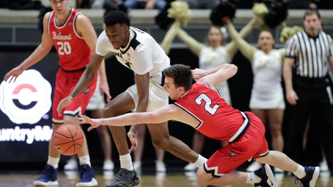 <p>               Belmont guard Grayson Murphy (2) Knicks the ball away from Purdue forward Aaron Wheeler (1) during the first half of an NCAA college basketball game in West Lafayette, Ind., Saturday, Dec. 29, 2018. (AP Photo/Michael Conroy)             </p>