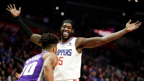 <p>               Los Angeles Clippers forward Montrezl Harrell celebrates after blocking a shot by Sacramento Kings guard Frank Mason III during the second half of an NBA basketball game in Los Angeles, Wednesday, Dec. 26, 2018. The Clippers won 127-118. (AP Photo/Chris Carlson)             </p>