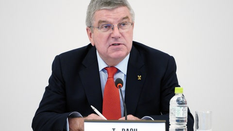 <p>               International Olympic Committee (IOC) President Thomas Bach speaks during an IOC Executive Board meeting in Tokyo Friday, Nov. 30, 2018.   The focus of the meeting was a decision on what to do with boxing's corruption-plagued international federation. (AP Photo/Eugene Hoshiko)             </p>