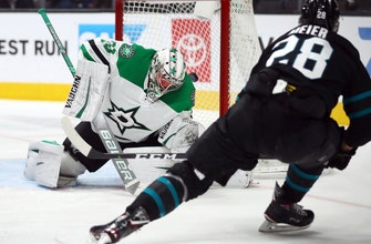 Meier scores 2 goals to lead Sharks past Stars 3-2
