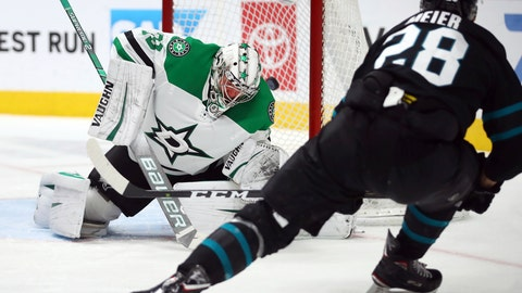 <p>               San Jose Sharks' Timo Meier, right, shoots a goal past Dallas Stars' Anton Khudobin in the third period of an NHL hockey game Thursday, Dec. 13, 2018, in San Jose, Calif. (AP Photo/Ben Margot)             </p>