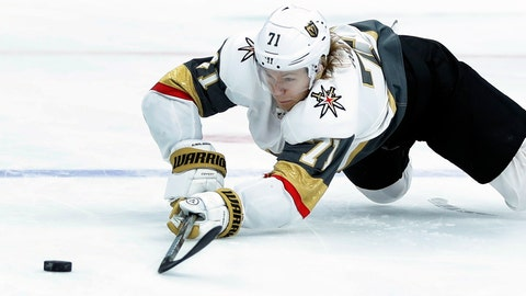 <p>               FILE - In this Nov. 1, 2018, file photo, Vegas Golden Knights' William Karlsson, of Sweden, reaches for a loose puck during the first period of an NHL hockey game against the St. Louis Blues, in St. Louis. Hindsight is 43/35 for the Columbus Blue Jackets. That's how many goals and assists William Karlsson put up for the Vegas Golden Knights after the Blue Jackets let him go in the expansion draft. (AP Photo/Jeff Roberson, File)             </p>