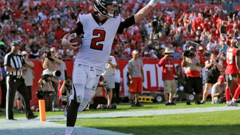 <p>               Atlanta Falcons quarterback Matt Ryan (2) celebrates after catching a 5-yard touchdown pass from Mohamed Sanu during the second half of an NFL football game against the Tampa Bay Buccaneers Sunday, Dec. 30, 2018, in Tampa, Fla. (AP Photo/Mark LoMoglio)             </p>