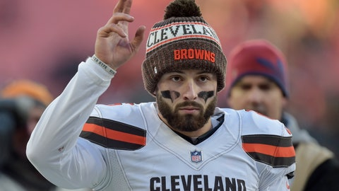 <p>               Cleveland Browns quarterback Baker Mayfield walks off the field after the Browns defeated the Carolina Panthers in an NFL football game, Sunday, Dec. 9, 2018, in Cleveland. (AP Photo/David Richard)             </p>