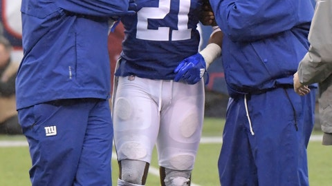 <p>               FILE - In this Dec. 2, 2018, file photo, New York Giants strong safety Landon Collins (21) is assisted by trainers during the first half of an NFL football game against the Chicago Bears, in East Rutherford, N.J. Giants safety and leading tackler Landon Collins is going to miss Sunday's game against Washington with a shoulder injury that may require surgery. Coach Pat Shurmur confirmed Wednesday that Collins will be out Sunday and that his injury probably will require surgery. (AP Photo/Bill Kostroun, File)             </p>