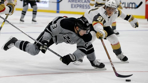 <p>               Los Angeles Kings right wing Dustin Brown, left, battles Vegas Golden Knights center Cody Eakin for the puck during the second period of an NHL hockey game in Los Angeles, Saturday, Dec. 8, 2018. (AP Photo/Alex Gallardo)             </p>