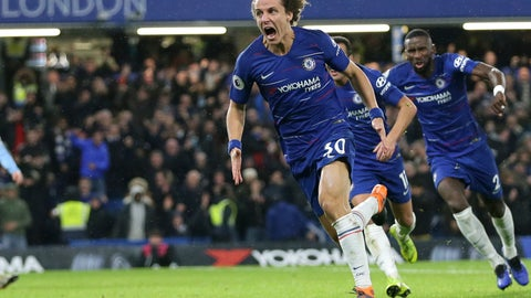 <p>               Chelsea's David Luiz, left, celebrates after scoring his side's opening goal during the English Premier League soccer match between Chelsea and Manchester City at Stamford Bridge in London, Saturday Dec. 8, 2018. (AP Photo/Tim Ireland)             </p>