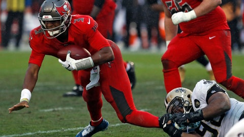 <p>               Tampa Bay Buccaneers quarterback Jameis Winston (3) gets sacked by New Orleans Saints defensive tackle Sheldon Rankins (98) during the second half of an NFL football game Sunday, Dec. 9, 2018, in Tampa, Fla. (AP Photo/Mark LoMoglio)             </p>