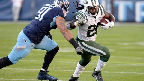 <p>               New York Jets running back Isaiah Crowell (20) carries the ball against Tennessee Titans outside linebacker Derrick Morgan (91) in the first half of an NFL football game Sunday, Dec. 2, 2018, in Nashville, Tenn. (AP Photo/Mark Zaleski)             </p>