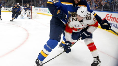 <p>               Florida Panthers' Denis Malgin (62), of Switzerland, and St. Louis Blues' Robert Bortuzzo (41) battle for the puck during the third period of an NHL hockey game, Tuesday, Dec. 11, 2018, in St. Louis. The Blues won 4-3. (AP Photo/Jeff Roberson)             </p>