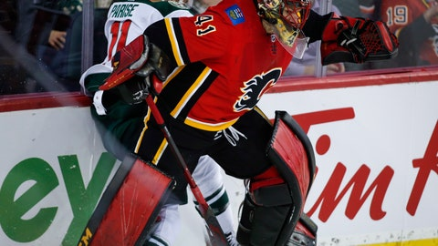 <p>               Minnesota Wild's Zach Parise, left, is checked by Calgary Flames goalie Mike Smith during second-period NHL hockey game action in Calgary, Alberta, Thursday, Dec. 6, 2018. (Jeff McIntosh/The Canadian Press via AP)             </p>