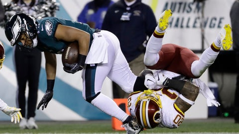 <p>               Philadelphia Eagles' Golden Tate (19) is tackled by Washington Redskins' Ha Ha Clinton-Dix (20) during the second half of an NFL football game, Monday, Dec. 3, 2018, in Philadelphia. (AP Photo/Michael Perez)             </p>