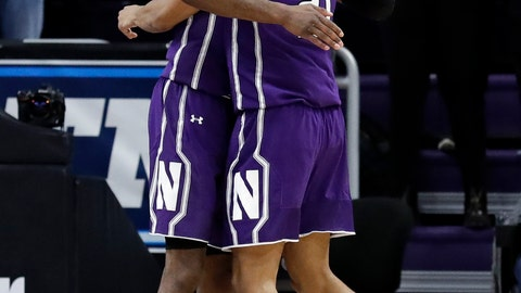 <p>               Northwestern forward Vic Law, left, forward A.J. Turner celebrate after Northwestern defeated DePaul 75-68 in an NCAA college basketball game Saturday, Dec. 8, 2018, in Evanston, Ill. (AP Photo/Nam Y. Huh)             </p>