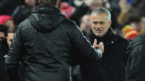 <p>               Liverpool manager Juergen Klopp, left, and Manchester United manager Jose Mourinho shake hands after the English Premier League soccer match between Liverpool and Manchester United at Anfield in Liverpool, England, Sunday, Dec. 16, 2018. (AP Photo/Rui Vieira)             </p>