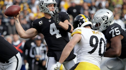 <p>               FILE - In this Sunday, Dec. 9, 2018, file photo, Oakland Raiders quarterback Derek Carr (4) passes against the Pittsburgh Steelers during the first half of an NFL football game in Oakland, Calif. The Bengals try to maintain their miniscule hopes of a playoff spot when they host the Raiders, a team already looking toward next year. (AP Photo/Jeff Chiu, FIle)             </p>