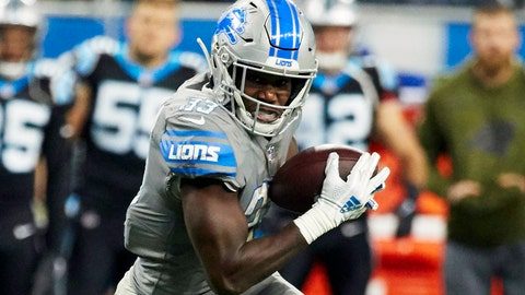 <p>               FILE -In this Nov. 18, 2018, file photo, Detroit Lions running back Kerryon Johnson (33) rushes against the Carolina Panthers during an NFL football game in Detroit.  The Lions put the rookie running back on injured reserve with a knee injury. (AP Images/Rick Osentoski, File)             </p>