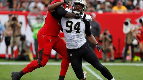 """<p>               FILE - In this Dec. 9, 2018, file photo, New Orleans Saints defensive end Cameron Jordan (94) is blocked by a Tampa Bay Buccaneers player during the first half of an NFL football game in Tampa, Fla. New Orleans (12-2) can lock up the No. 1 seed in the NFC playoffs with a victory over visiting Pittsburgh (8-5-1) on Sunday. """"That would be huge,"""" said Jordan, referencing what he calls """"dome-field advantage."""" (AP Photo/Mark LoMoglio, File)             </p>"""