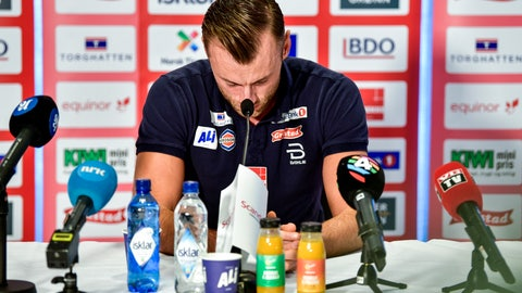 <p>               Multiple world champion and olympic champion Petter Northug announces his retirement from cross-country skiing during a press conference in Trondheim, Wednesday Dec. 12, 2018. (Ole Martin Wold/NTB scanpix via AP)             </p>