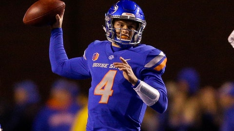 <p>               FILE - In this Nov. 9, 2018, file photo, Boise State quarterback Brett Rypien (4) throws the ball against Fresno State in the first half of an NCAA college football game in Boise, Idaho. Rypien is the active FBS career leader with 13,581 yards passing, a Mountain West record. He also shares the rare distinction with Kellen Moore, now the quarterbacks coach for the Dallas Cowboys, as a four-year starter for the Broncos. (AP Photo/Steve Conner, File)             </p>