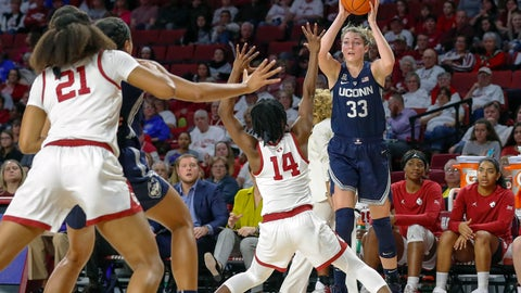 <p>               Connecticut guard/forward Katie Lou Samuelson (33) looks to pass the ball as Oklahoma guard Shaina Pellington (14) defends during the first half of an NCAA college basketball game in Norman, Okla., Wednesday, Dec. 19, 2018. (AP Photo/Alonzo Adams)             </p>