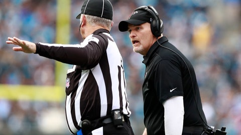 <p>               Atlanta Falcons head coach Dan Quinn, right, argues a call during the first half of an NFL football game against the Carolina Panthers in Charlotte, N.C., Sunday, Dec. 23, 2018. (AP Photo/Jason E. Miczek)             </p>