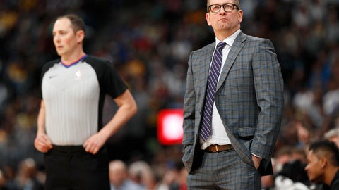 <p>               Toronto Raptors head coach Nick Nurse checks the scoreboard as time runs out in the second half of an NBA basketball game against the Denver Nuggets, Sunday, Dec. 16, 2018, in Denver. The Nuggets won 95-86. (AP Photo/David Zalubowski)             </p>