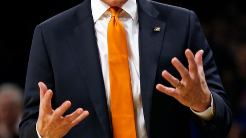 """<p>               FILE - In this Nov. 23, 2018, file photo, Tennessee head coach Rick Barnes reacts against Kansas during the second half of an NCAA college basketball game in New York. Tennessee wants to capitalize on a second chance to beat an elite opponent as the Volunteers adapt to the higher expectations accompanying their top-10 ranking. The seventh-ranked Vols (6-1) let a golden opportunity slip away two weeks ago when they squandered a second-half lead in an 87-81 overtime loss to No. 2 Kansas. They're hoping the lessons they learned that night pay off Sunday when they face No. 1 Gonzaga (9-0) in the Jerry Colangelo Classic at Phoenix. """"I thought we were a little too emotional at the beginning of that (Kansas) game,"""" Tennessee coach Rick Barnes said (AP Photo/Adam Hunger, File)             </p>"""