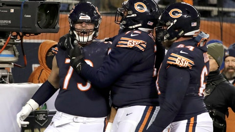 <p>               Chicago Bears offensive tackle Bradley Sowell (79) celebrates a touchdown reception with teammates during the second half of an NFL football game against the Los Angeles Rams Sunday, Dec. 9, 2018, in Chicago. (AP Photo/Nam Y. Huh)             </p>