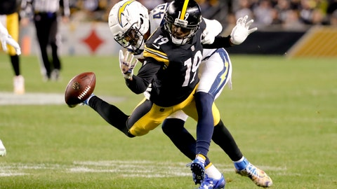 <p>               Los Angeles Chargers cornerback Michael Davis (43) is called for pass interference on Pittsburgh Steelers wide receiver JuJu Smith-Schuster (19) in the first half of an NFL football game, Sunday, Dec. 2, 2018, in Pittsburgh. The Chargers won 33-30. (AP Photo/Gene J. Puskar)             </p>