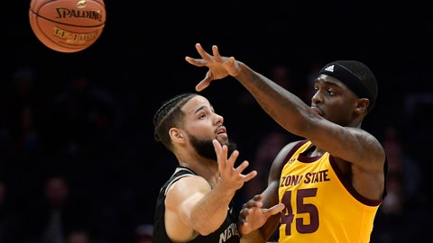 <p>               Arizona State forward Zylan Cheatham, right, passes the ball while under pressure from Nevada forward Caleb Martin during the first half of an NCAA college basketball game at the Basketball Hall of Fame on Classic Friday, Dec. 7, 2018, in Los Angeles. (AP Photo/Mark J. Terrill)             </p>