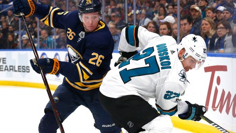 <p>               FILE - In this Nov. 27, 2018 file photo, Buffalo Sabres defenseman Rasmus Dahlin (26) and San Jose Sharks forward Joonas Donskoi (27) battle in the corner during the first period of an NHL hockey game in Buffalo N.Y.  When first overall pick Dahlin put pen to paper on his first NHL contract, the reverberations carried to Gothenburg and Lidkoping in his native Sweden. Dahlin signing with the Buffalo Sabres earned Sweden more than $250,000 to put back into development.(AP Photo/Jeffrey T. Barnes)             </p>
