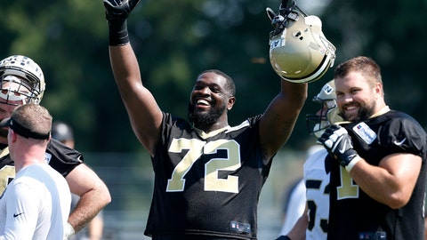 <p>               FILE - In this Thursday, July 26, 2018, file photo, New Orleans Saints offensive tackle Terron Armstead (72) reacts during NFL football practice in Metairie, La. Armstead returned to practice Wednesday, Dec. 5, 2018, marking his first time in pads since his pectoral injury at Cincinnati in Week 10. (AP Photo/Jonathan Bachman, File)             </p>