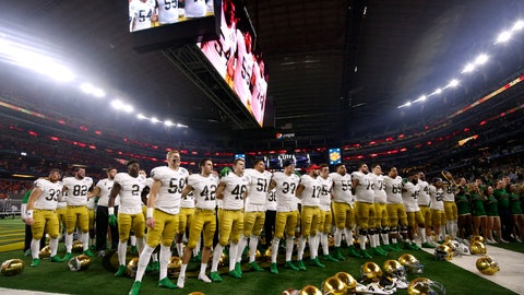 <p>               Notre Dame players stand in the end zone singing in the direction of their fans after their 30-3 loss to Clemson in the NCAA Cotton Bowl semi-final playoff football game, Saturday, Dec. 29, 2018, in Arlington, Texas. Clemson won 30-3. (AP Photo/Michael Ainsworth)             </p>