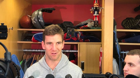 <p>               With questions about his future swirling, New York Giants quarterback Eli Manning said Wednesday, Dec. 26, 2018, in East Rutherford, N.J., that he is concentrating on Sunday's game at MetLife Stadium against the Dallas Cowboys. The 37-year-old two time Super Bowl MVP winner is finishing his 15th season. (AP Photo/Tom Canavan)             </p>