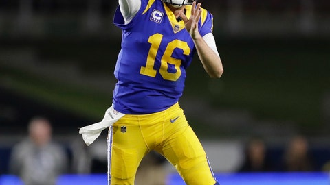 <p>               Los Angeles Rams quarterback Jared Goff passes against the Philadelphia Eagles during the first half in an NFL football game Sunday, Dec. 16, 2018, in Los Angeles. (AP Photo/Marcio Jose Sanchez)             </p>