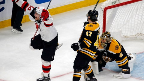 <p>               New Jersey Devils left wing Miles Wood (44) celebrates a Devils goal against Boston Bruins goaltender Jaroslav Halak as Bruins defenseman Torey Krug (47) watches during the third period of an NHL hockey game Thursday, Dec. 27, 2018, in Boston. The Devils won 5-2. (AP Photo/Elise Amendola)             </p>