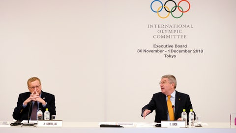 <p>               International Olympic Committee (IOC) President Thomas Bach, right, gestures to John Coates, left, chairman of the IOC Coordination Commission for the 2020 Tokyo Olympics and Paralympics, shake hands prior to an IOC Executive Board meeting Saturday, Dec. 1, 2018, in Tokyo. The IOC said boxing will take place at the 2020 Tokyo Olympics. But exactly who runs the tournament and the details of qualifying are up in the air because of charges of corruption and malfeasance surrounding the boxing federation that runs the sport at the Olympics. (AP Photo/Eugene Hoshiko)             </p>