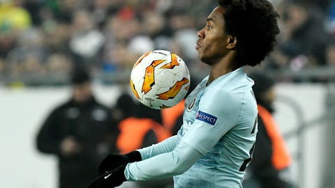 <p>               Chelsea's Willian in action during the UEFA Europa League Group L soccer match between Vidi FC and Chelsea in Groupama Arena in Budapest, Hungary, Thursday, Dec. 13, 2018. (Tibor Illyes/MTI via AP)             </p>