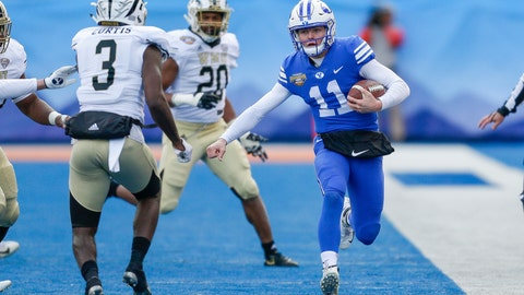 <p>               BYU quarterback Zach Wilson (11) runs down the sideline against Western Michigan in the first half of the Famous Idaho Potato Bowl NCAA college football game, Friday, Dec. 21, 2018, in Boise, Idaho. (AP Photo/Steve Conner)             </p>