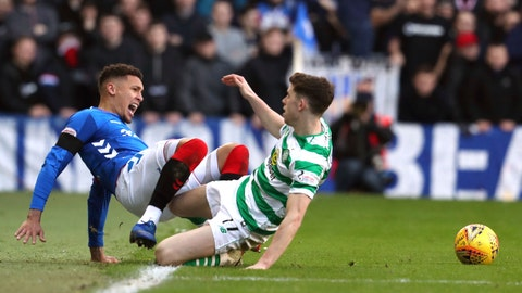 <p>               Rangers' James Tavernier, left, clashes with Celtic's Ryan Christie during their Scottish Premiership soccer match at Ibrox Stadium in Glasgow, Scotland, Saturday Dec. 29, 2018. (Andrew Milligan/PA via AP)             </p>