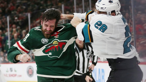 <p>               San Jose Sharks' Timo Meier of Switzerland fights Minnesota Wild's Greg Pateryn in the second period of an NHL hockey game Tuesday, Dec. 18, 2018, in St. Paul, Minn. (AP Photo/Stacy Bengs)             </p>