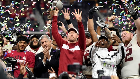 <p>               Oklahoma head coach Lincoln Riley hoists the Big 12 Conference championship trophy after beating Texas 39-27 in the Big 12 Conference championship NCAA college football game on Saturday, Dec. 1, 2018, in Arlington, Texas. (AP Photo/Jeffrey McWhorter)             </p>