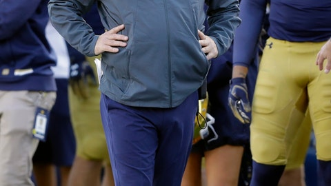 <p>               FILE - In this Oct. 13, 2018, file photo, Notre Dame head coach Brian Kelly watches during the second half of an NCAA college football game against Pittsburgh, in South Bend, Ind. Brian Kelly is The Associated Press college football Coach of the Year, Monday, Dec. 17, 2018, becoming the third coach to win the award twice since it was established in 1998. (AP Photo/Darron Cummings, File)             </p>